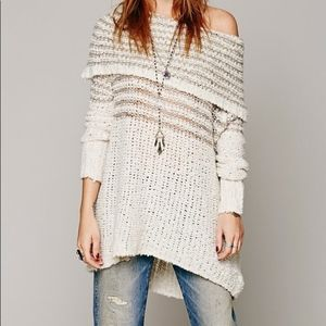 Free People Engineered Stripe Cowl Neck Sweater